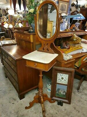 Antique Mahogany Tall Wash Stand - Mirror and Marble top