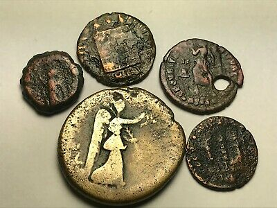 ANCIENT AUTH. 5 XRARE$ Coins; 1 GREEK, APOLLO 200 BC, 4 ROMAN 161 AD. VICTORY &