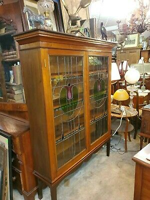 Antique Mahogany Art Deco Bookcase - tulip Stained Glass Doors