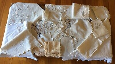 BULK Lot Of 30 Vintage Crochet Lace And Embroidered Doilies Various Sizes