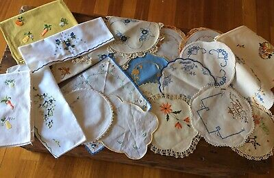20 Vintage Embroidered Doilies And Hand towels Varying Sizes,Shapes And Patterns
