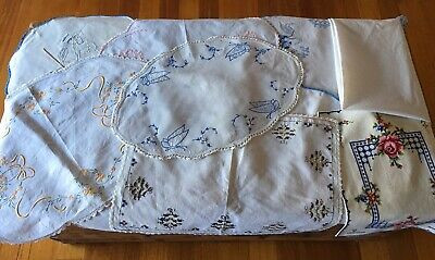 10 Large Vintage Hand Embroidered Doilies Varying Sizes,Shapes And Patterns