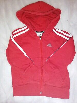 VGC Boys Girls ADIDAS Red White Zip Up Tracksuit Jacket Hoodie Jumper Top 3-4