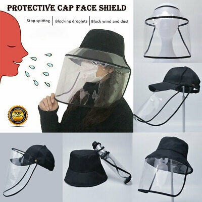 Detachable Hat-Mounted Transparent Protective Cap Face Covering Anti-fog Saliva
