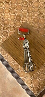 Vintage Swift Whip hand beater, kitchen. Red Handle