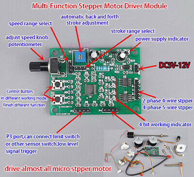 New DC 5V-12V 2-phase 4-wire Micro Stepper Motor Driver Speed Controller Module