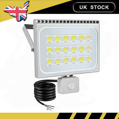 LED Floodlight PIR Sensor Motion 100W Outdoor Security Flood Light Cool White