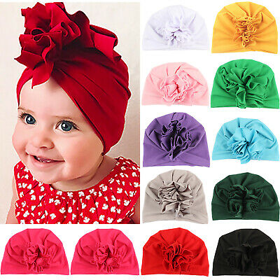 Newborn Toddler Baby Girl Floral Turban Beanie Hat Knot Indian Ear Cap Head Wrap