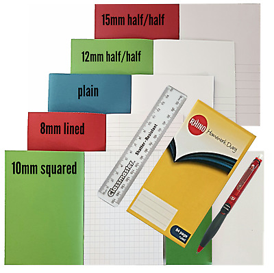 7 x  Exercise Note  books A5  Home school pack 80, 48, 32 page book + FREE GIFTS