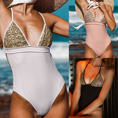 Sexy Women One Piece Halter Bikini Sequin Swimsuits Swimwear Leotard Bodysuit