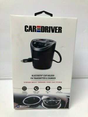 Car and Driver Bluetooth Cupholder FM Transmitter and Charger
