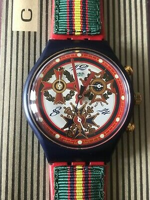 Wristwatch SWATCH Chrono THE TOP BRASS (SCN116)-NEW/NOS-Full working! Iron Cross