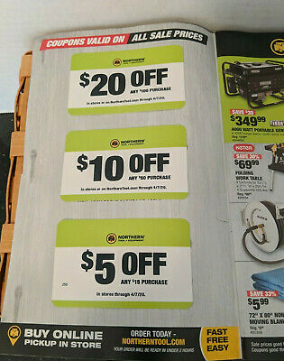 Northern Tool & Equipment Coupon $10 Off $50 Purchase $20 $5  4/7/20 in-store