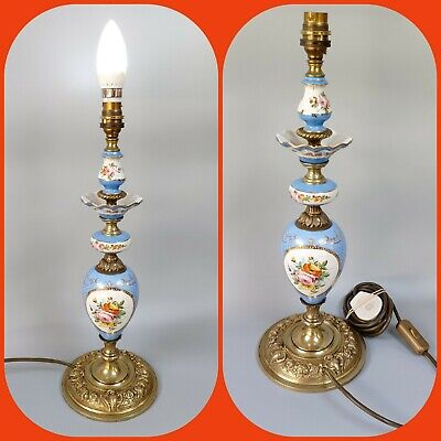 Antique French Sevres Style Blue Porcelain & Ormolu Table Lamp - Rewired - C1930
