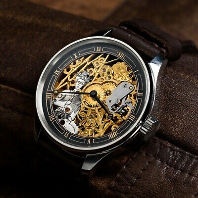 mechanical watch for mens skeleton luxury pocket watch in art deco case and dial