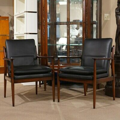 Transitional Arm Chairs in Mahogany with Black Leather