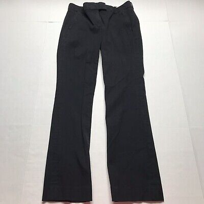J. Crew Black Campbell trouser in bi-stretch cotton Sz 4 Slim Straight Leg a780