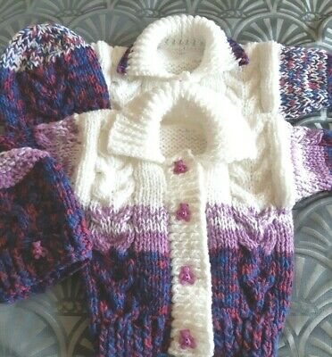 Unique Hand knitted chunky jacket hat set baby girl 3-6 months
