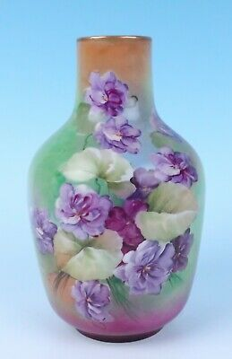 Antique GINORI Firenze Ware HAND PAINTED Artist Signed Vase Italian Porcelain