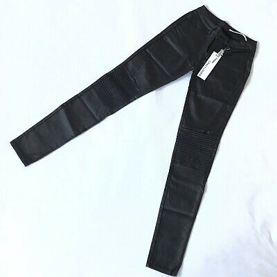 CRAZY LOVER 6 Wet Look High Waisted Slim Fit Black Faux Leather Trousers Biker