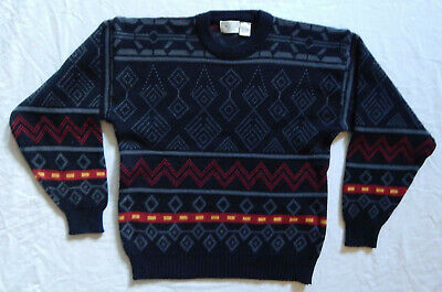 Black Geometric Striped Crew Neck Sweater - Medium Mens The Men's Store Vtg