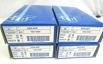 40 NEW Leviton 5320-ACP 2Pole Grounding Duplex Receptacle Outlet Almond 15A 125V