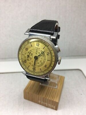 Vintage 1930-40's Ora Military Watch Chronograph Telemeter Deco Monopusher Large