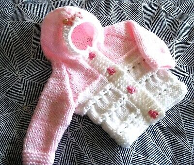hand knitted baby girls pink white chunky hooded jacket   0-3m/reborn