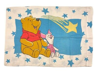Vntg Pooh Piglet Shooting Star Reverse Double Sided Pillow Case Twin Size 20x29