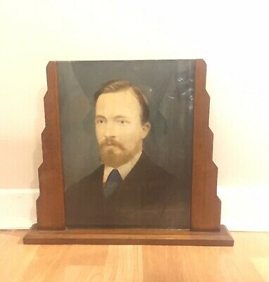 Genuine Art Deco Wooden Frame With Hand Painted Portrait, 1920's/30's