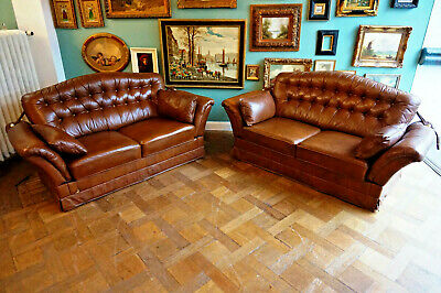 2 Antike Chesterfield Sofagarnitur Sessel Ledercouch leather couch Herrenzimmer