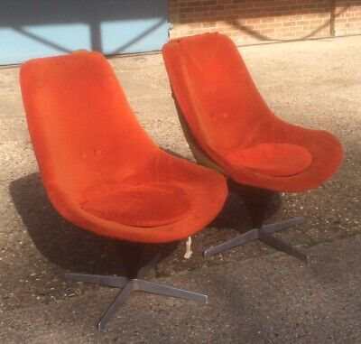 Rare Pair of Lurashell Swivel Lounge Chairs for Reuopholstery Sorry No 😔 PayPal
