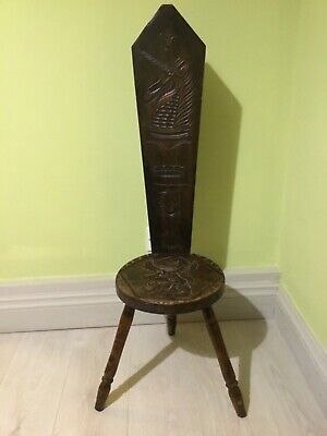 Hand Carved Spinning chair by The Studio of Art & Antiquity, Torbay, Devon
