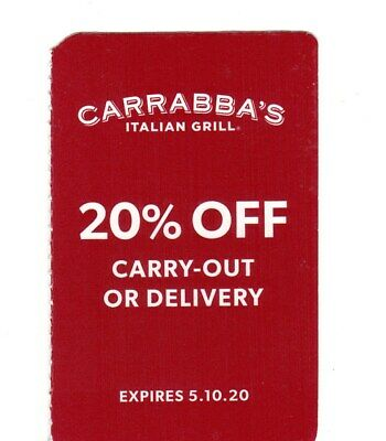 CARRABBA'S 20% Off TAKE OUT or DELIVERY Coupon Card! Exp 5/10/2020