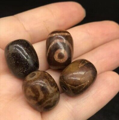 Sale Lot Of 4 Pices Very Old Tabtian Dzi One Eyes Agte Different Unique Bead