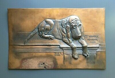 Vintage Artwork Copper Relief of Purebred Bloodhound Wandle Warrior Born 1897