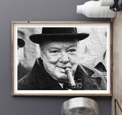 Sir Winston Churchill Painting Art Print -  WWII Cigar Artwork A4 Size Poster