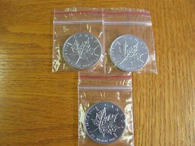 2013 1 oz Canadian Silver Maple Leaf Coin 1 OZ. LOT OF 3-FREE SHIPPING!!!!!!