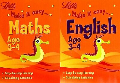 Maths And English, Ages 3-4, Letts Children's Workbooks, Set Of 2 Books, New