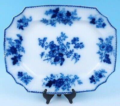 """Antique Staffordshire 20"""" Large Flow Blue Platter Everhart West Chester PA Tray"""