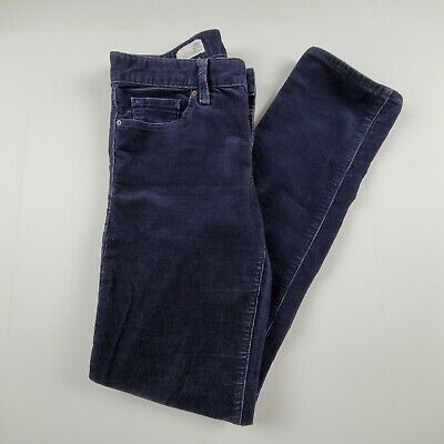Gap Womens Corduroy Pants Sz 26 Real Straight Mid Rise Navy Blue Slacks Career