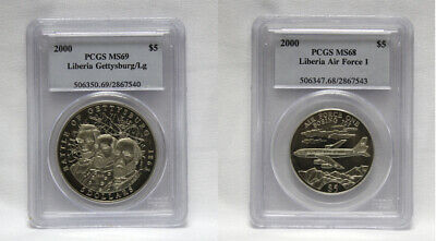 PCGS 2000 Liberia Air Force 1 (MS68) & Gettysburge/Lg $5 Coins (MS69) (CERT14156