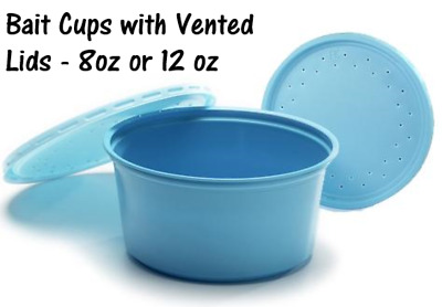 Bait Cups with Vented Lids (8 oz or 12 oz) - Perfect for Worms or Insects