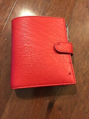 Gillio Firenze Ring Planner Organiser Pocket Compagna XL Real Ostrich X Ruby Red