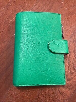 Gillio Firenze Ring Planner Organiser Medium Compagna Real Ostrich X Green