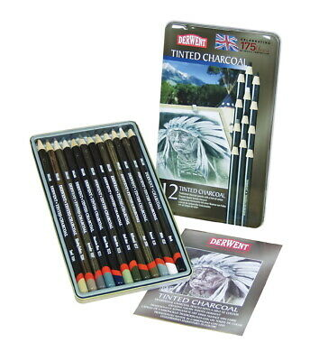 Derwent Tinted Charcoal Pencil, Assorted Colors, Set of 12
