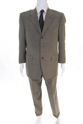 Canali Mens Three Button Notched Lapel Pleated Suit Beige Wool Size IT 50
