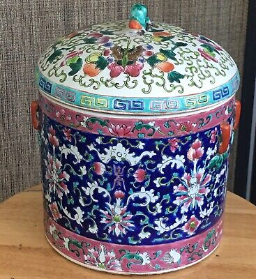 Antique Chinese Famille Rose Blue Ground Jar with Butterfly Lid Qing (Peranakan)