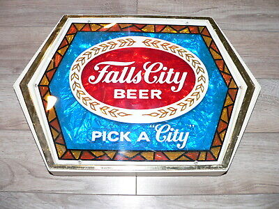 """Vintage Falls City Beer """"Stained Glass"""" Plastic Wall Display Sign~Pick A """"City"""""""