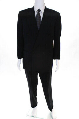 Canali Mens One Button Pointed Lapel Pleated Suit Navy Blue Wool Size IT 48